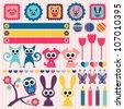 Sweet childlike scrapbook elements with animals - stock vector