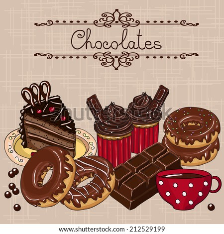 Sweet chocolate cakes. Hand drawn vector illustration. - stock vector