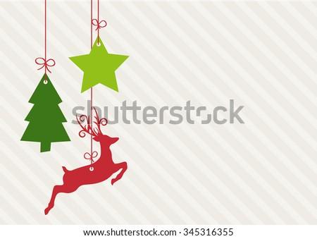 Sweet Christmas Elements hanging - stock vector