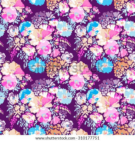 sweet classic floral print ~ seamless background - stock vector