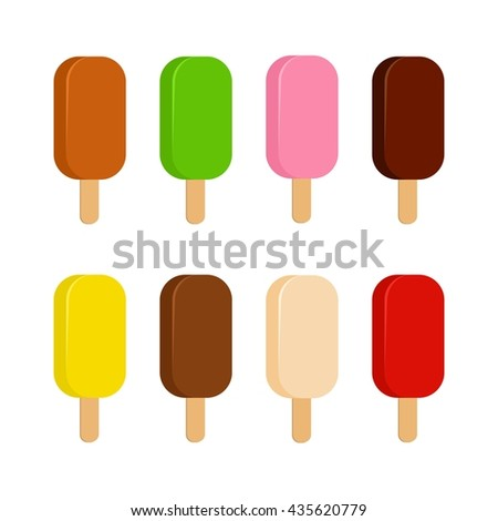 Sweet cold ice cream set and tasty frozen ice cream collection vector delicious. Set of cartoon colorful ice-cream desserts. Chocolate, milk and fruit icecream. Ice creams isolated on white. ice lolly