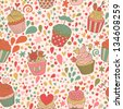 Sweet concept seamless pattern. Tasty background made of cupcakes. Seamless pattern can be used for wallpaper, pattern fills, web page backgrounds, surface textures. - stock vector