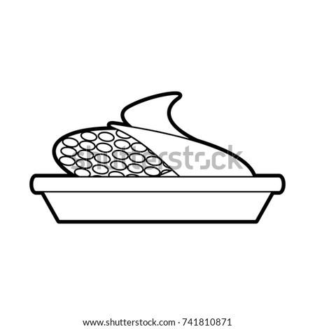 Sweet Corn On Dish Cartoon Thanksgiving Stock Vector 741810871