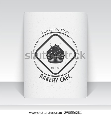 Sweet Cupcakes. Bakery baking. Cafes and eateries. The food and service. Old school of vintage label. Sheet of white paper. Monochrome typographic labels, stickers, logos and badges. Flat illustration - stock vector
