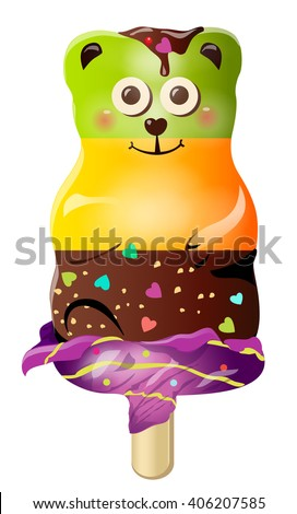 Sweet cute fun cartoon candy ice cream bear character. Vector illustration, clip-art, isolated on white background - stock vector