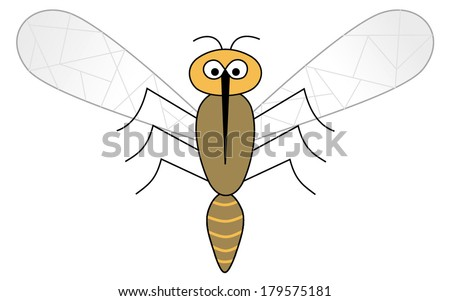 Sweet cute mosquito. vector art image illustration eps10, isolated on white background - stock vector