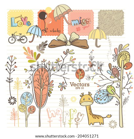 Sweet decorative drawing for scrap-booking art to download