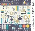 Sweet decorative sticker set for scrap-booking art to download - stock vector