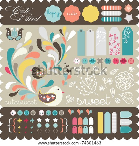 Sweet decorative sticker set for scrap-booking art to download
