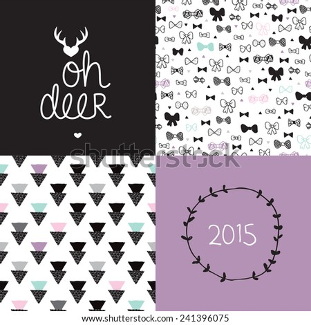 Sweet deer black and white postcard 2015 cover design and geometric hipster bow seamless background pattern set in vector - stock vector