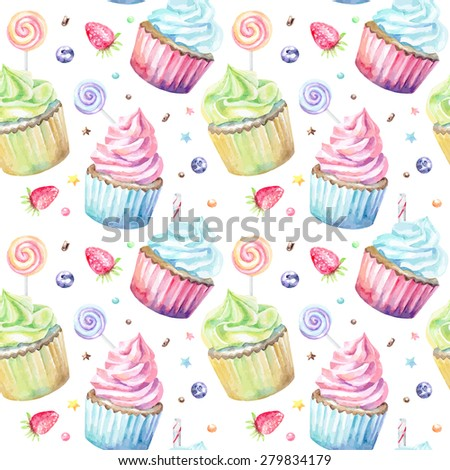 Sweet delicious watercolor pattern with cupcakes. Hand-drawn background. Vector illustration. - stock vector