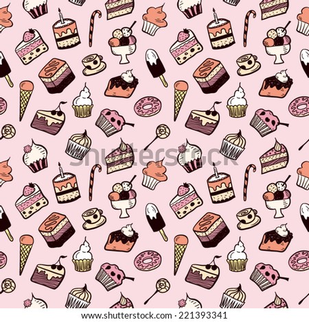 Sweet dessert pattern pink - stock vector