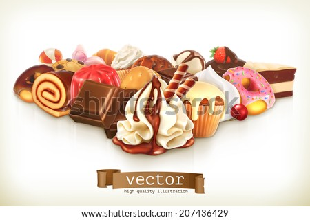 Sweet dessert with chocolate, confectionery vector illustration - stock vector