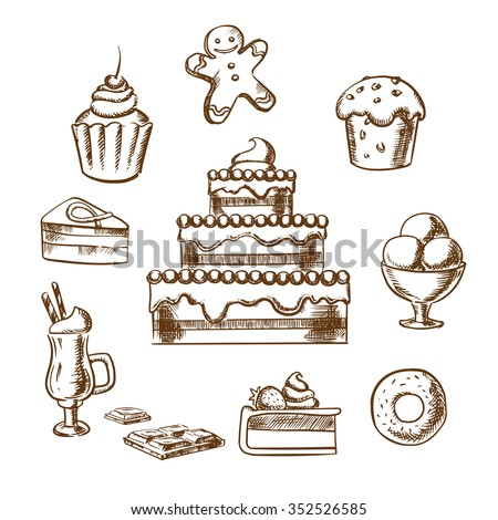 Sweet desserts icons with three tiered cake decorated with cream, berries, cupcakes, ice cream, donut, slices of honey cake and cheesecake, gingerbread man and hot chocolate. Sketch style - stock vector