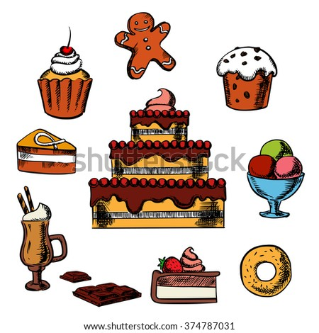 Sweet desserts with three tiered cake decorated with cream, berries, cupcakes, ice cream, donut, slices of honey cake and cheesecake, gingerbread man and hot chocolate - stock vector