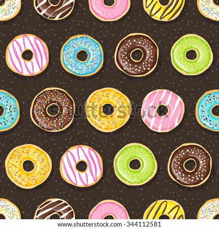 Sweet donuts on the dark background. Beautiful and tasty seamless pattern. - stock vector