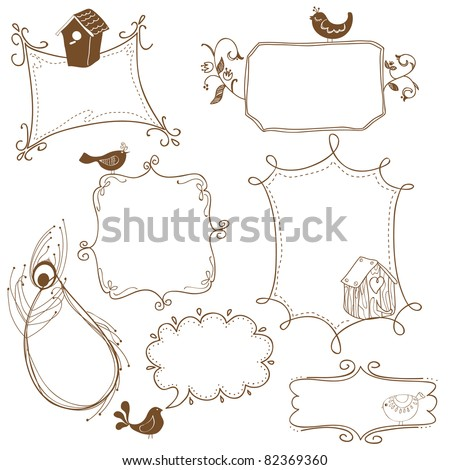 Sweet Doodle Frames with Birds and Bird Houses - stock vector