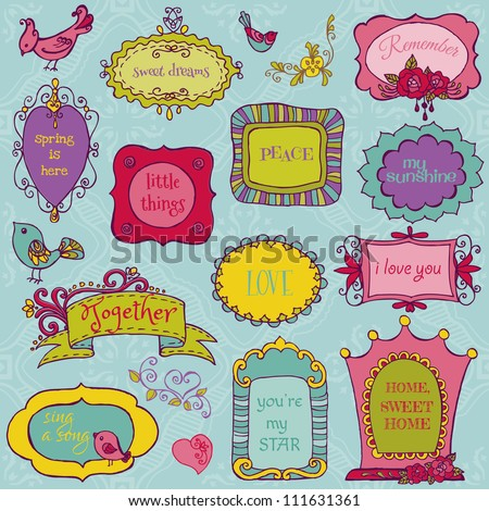 Sweet Doodle Frames with Birds and Flower Elements - in vector - stock vector