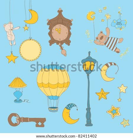 Sweet Dreams - Design Elements for baby scrapbook - stock vector