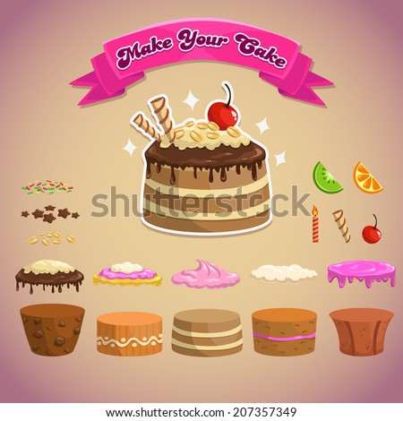 Sweet elements for making your own cake, vector cake constructor