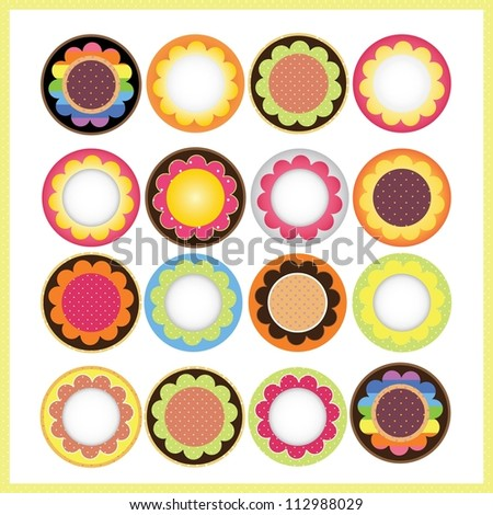 sweet flower label design - stock vector