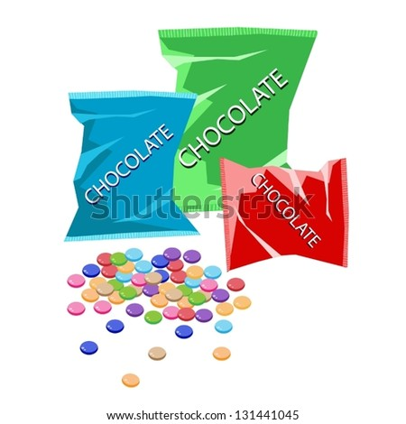 Sweet Food, An Illustration Stack of Colorful Candies Shell Wrapped Delicious Bites of Chocolate and Three Colors of Chocolate Packaging - stock vector