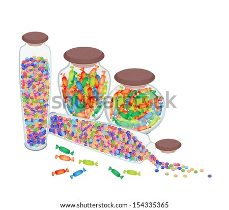 Sweet Food, Colorful Chocolate Candies and Hard Candies in Four Tall Glass Jar Isolated on White Background  - stock vector