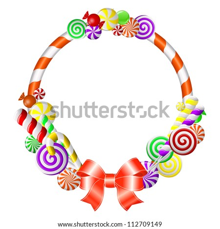 Sweet frame with colorful candies. Vector illustration - stock vector
