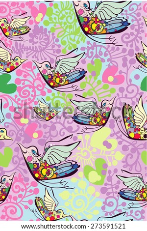 Sweet funny chicken in flowers. Bright summer romantic background in vector. Seamless pattern can be used for wallpapers, pattern fills, web page backgrounds, surface textures - stock vector