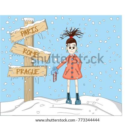 Sweet Girl Going On Holiday Snow Stock Vector 773344444 - Shutterstock
