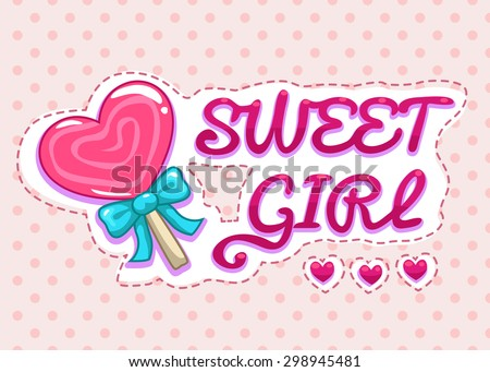 Sweet girl illustration, cute girlish  vector template for t-shirts print - stock vector