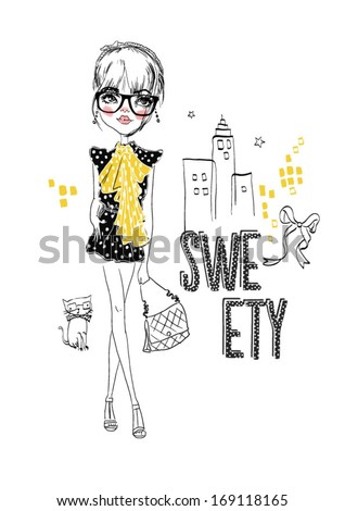 sweet girl with street - stock vector