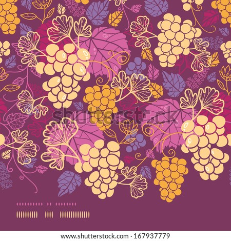 Sweet grape vines horizontal border seamless pattern background - stock vector