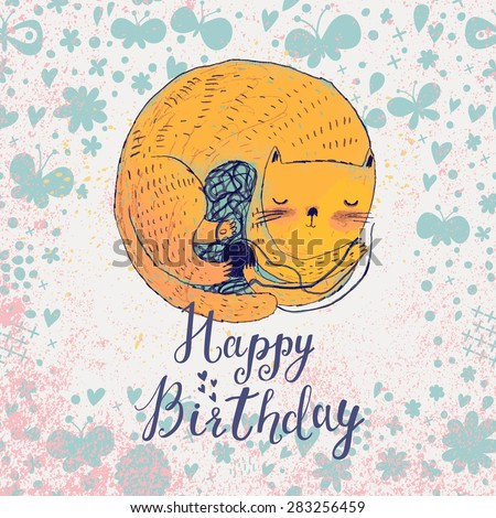 Sweet happy birthday card i cartoon style. Awesome kitten sleeping in butterflies and flowers in vector - stock vector