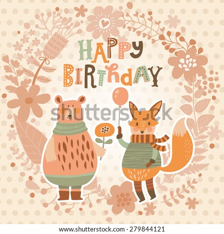 Sweet happy birthday card with lovely fox with air balloon and cute bear in summer floral wreath. Cute cartoon fox and bear in vector with holiday text. Childish card in bright colors - stock vector