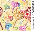 Sweet heart pattern, old paper. Vector art. - stock photo