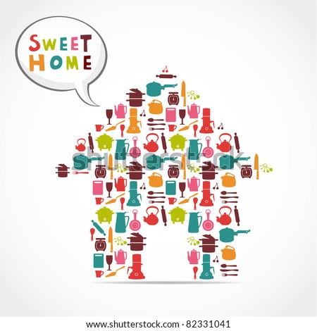 sweet home card - stock vector