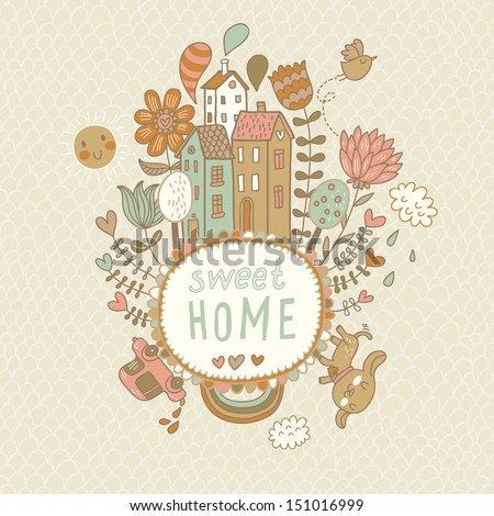 Sweet home. Concept vector background with houses, bird, sun, car, dog, rainbow, clouds and flowers in cartoon style - stock vector
