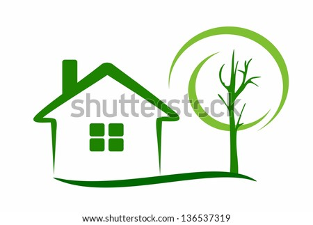 sweet home - house and tree - stock vector