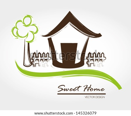 sweet home over gray background vector illustration - stock vector