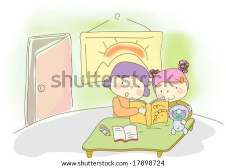 Sweet Home with Cute Child - reading a storybook with pretty little girl and lovely mom in room : vector illustration - stock vector