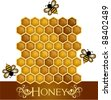 Sweet honey comb with bees workers background vector illustration. Graphic Design Editable For Your Design.  - stock vector