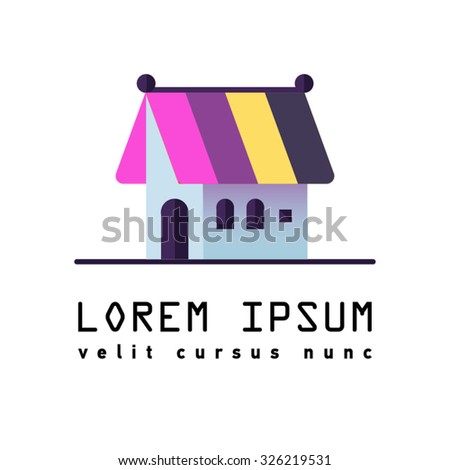 Sweet house. Flat icon or symbol of gingerbread house. Bakery house. - stock vector