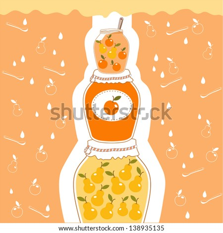 sweet illustration of apple and pear jam - stock vector