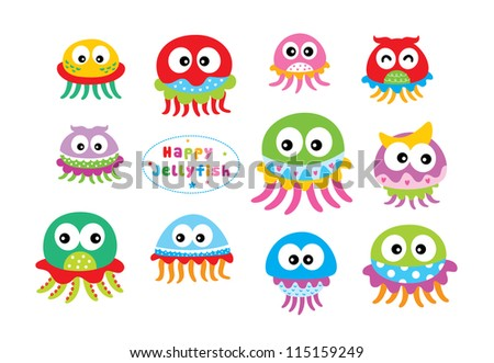 sweet jelly fish doodle - stock vector