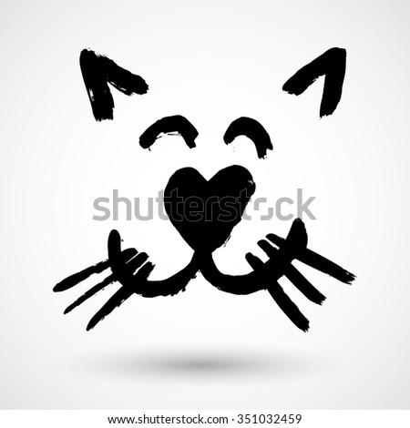 Sweet Kitty Face Icon - stock vector