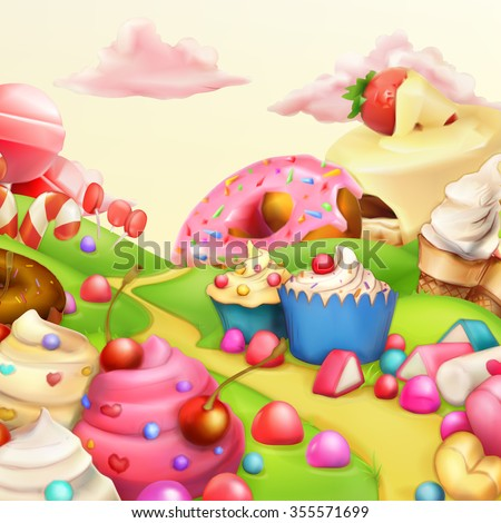 Sweet landscape vector background - stock vector