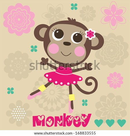 sweet little monkey girl balerina flowers vector illustration - stock vector