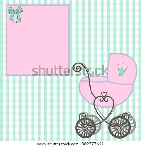 sweet little Princess  announcement  baby shower, fairytale Cartoon Illustration carriage Princess, vintage baby stroller invitation or card on the birthday, vector background illustration - stock vector