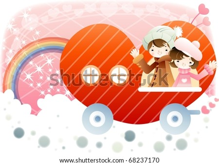 Sweet Love with the Sweet Lovers - riding a cute boy and a lovely girl enjoy drive with a heart shaped red car on a background of pink sky and white clouds and colorful rainbow : vector illustration - stock vector